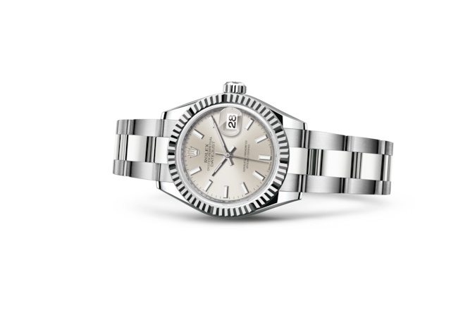 Lady-Datejust 28 - Silver, Oystersteel and white gold