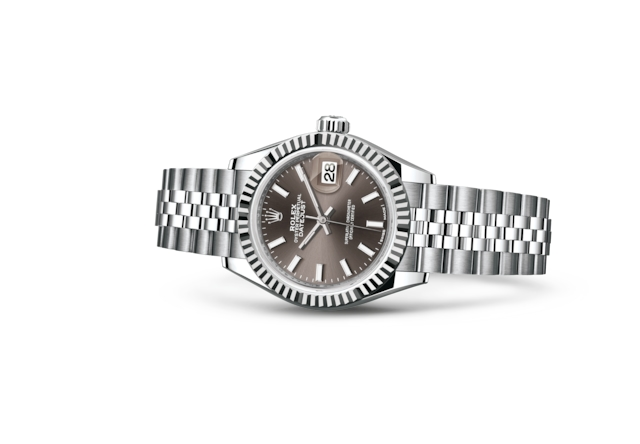 Lady-Datejust 28 - Dark grey, Oystersteel dan emas putih