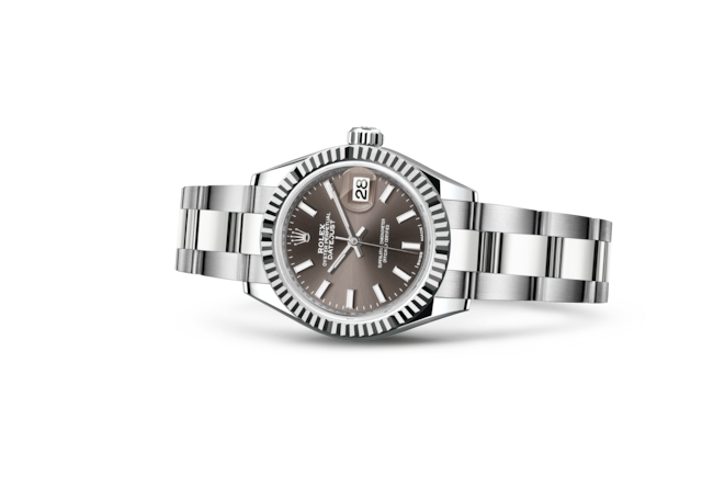 Lady-Datejust 28 - Dark grey, Oystersteel and white gold