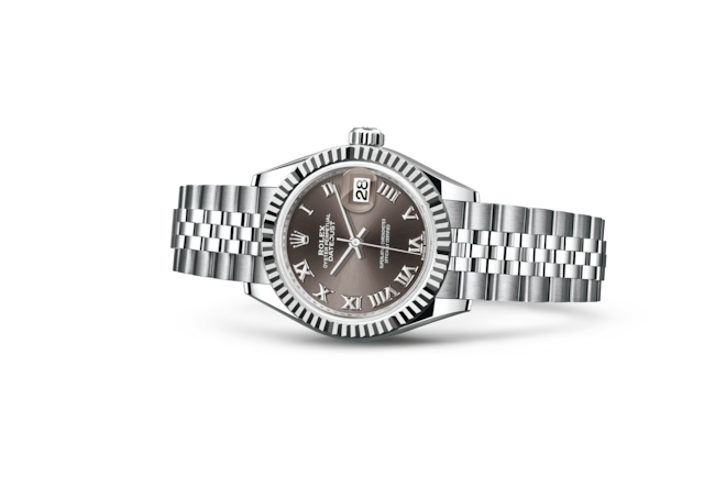 Lady-Datejust 28 - Dark grey, Acier Oystersteel et or gris