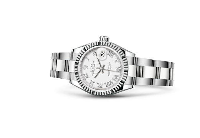 Lady-Datejust 28 - White, Oystersteel and white gold