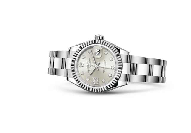 Lady-Datejust 28 - Argenté, serti de diamants, Acier Oystersteel et or gris