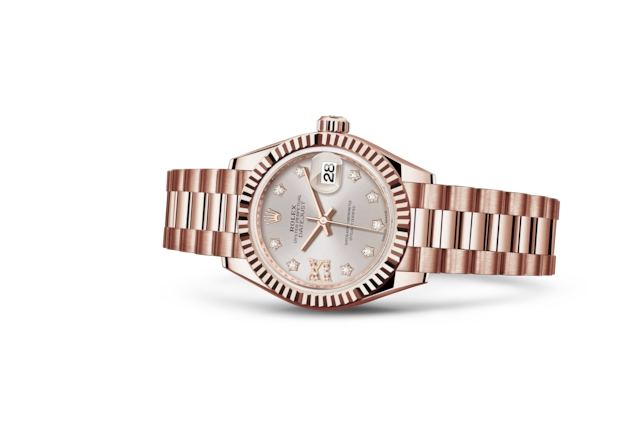 Lady-Datejust 28 - Sundust set with diamonds, Everose gold