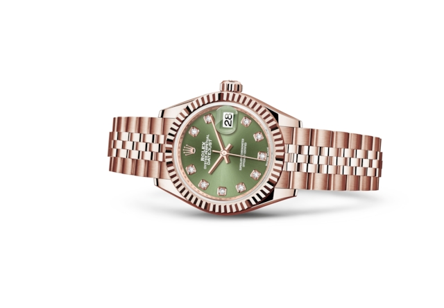 Lady-Datejust 28 - Olivgrünes Diamantzifferblatt, Everose-Gold