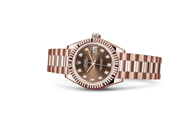 Lady-Datejust 28 - Chocolate cravejado de diamantes, ouro Everose