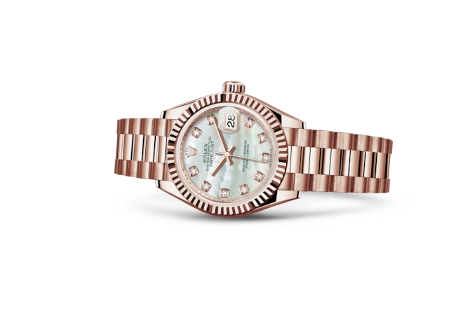 Lady-Datejust 28 - White mother-of-pearl set with diamonds, Everose gold