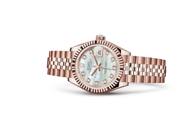 Lady-Datejust 28 - Nacre blanche, serti de diamants, or Everose