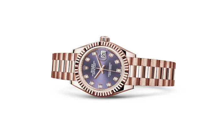 Lady-Datejust 28 - Auberginefarbenes Diamantzifferblatt , Everose-Gold
