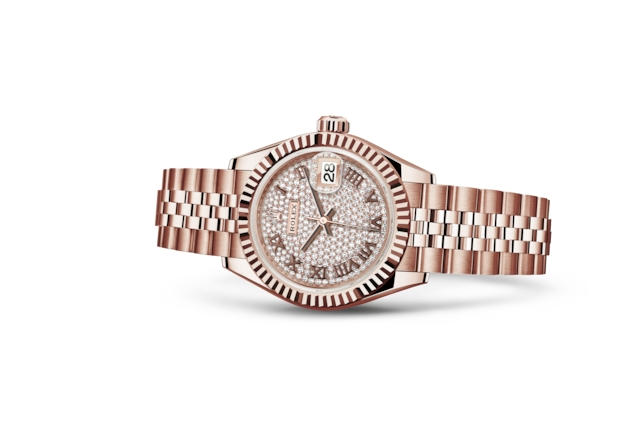 Lady-Datejust 28 - Pavé de diamants, or Everose