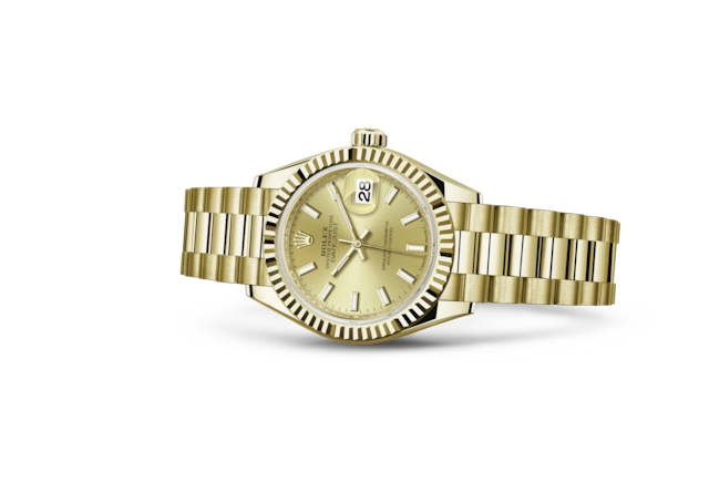 Lady-Datejust 28 - Color champagne, oro amarillo