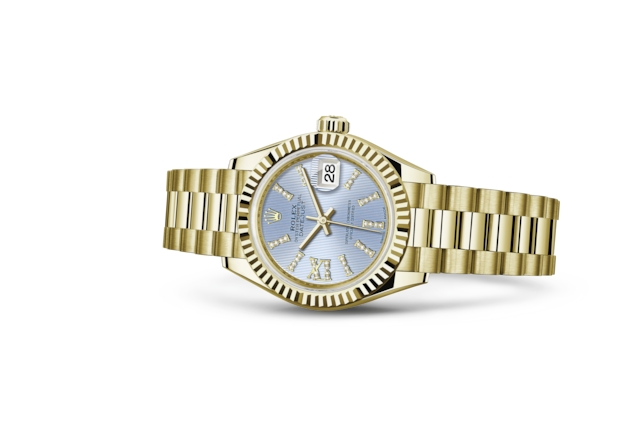 Lady-Datejust 28 - Korenbloemblauw met diamanten, geelgoud