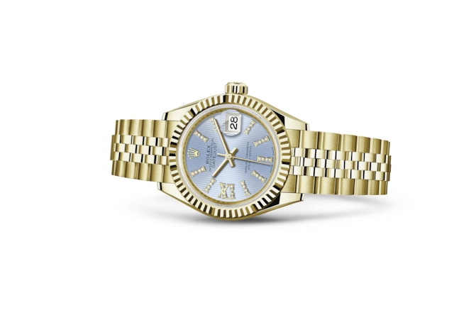 Lady-Datejust 28 - Cornflower blue cravejado de diamantes, ouro amarelo