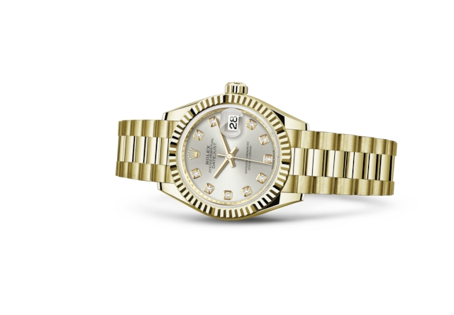 Lady-Datejust 28 - Silver set with diamonds, yellow gold