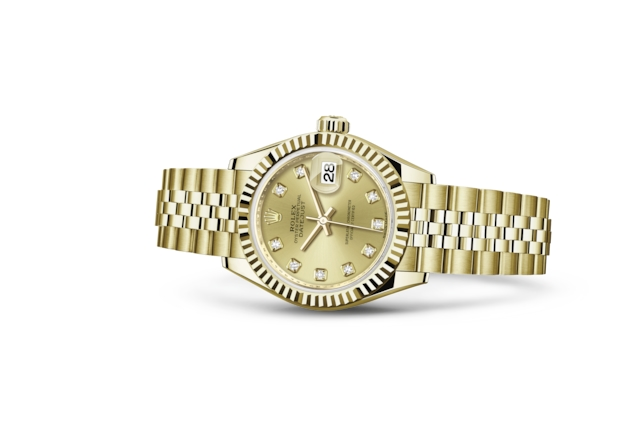 Lady-Datejust 28 - Couleur champagne, serti de diamants, or jaune