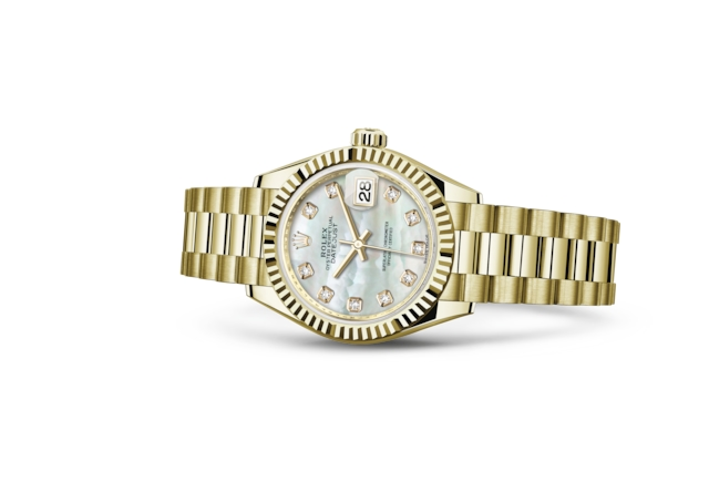 Lady-Datejust 28 - Nácar blanco engastada de diamantes, oro amarillo