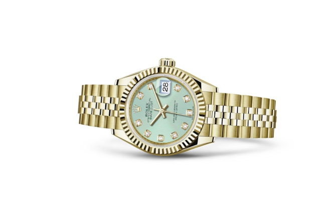 Lady-Datejust 28 - Verde menta con diamanti, oro giallo