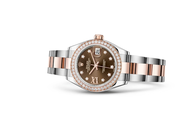 Lady-Datejust 28 - Chocolate con diamanti, Acciaio Oystersteel, oro Everose e diamanti