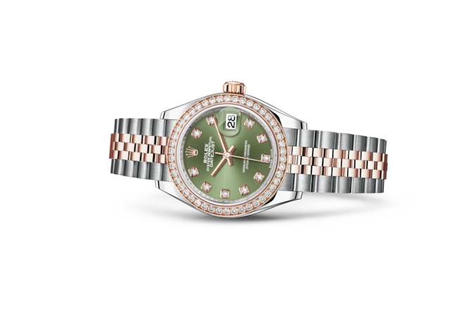 Lady-Datejust 28 - Olive green set with diamonds, Oystersteel, Everose gold and diamonds