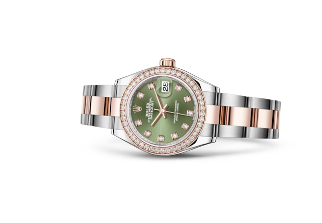Lady-Datejust 28 - Verde oliva con diamanti, Acciaio Oystersteel, oro Everose e diamanti