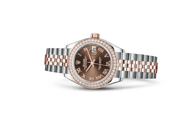 Lady-Datejust 28 - Chocolat, Acier Oystersteel, or Everose et diamants
