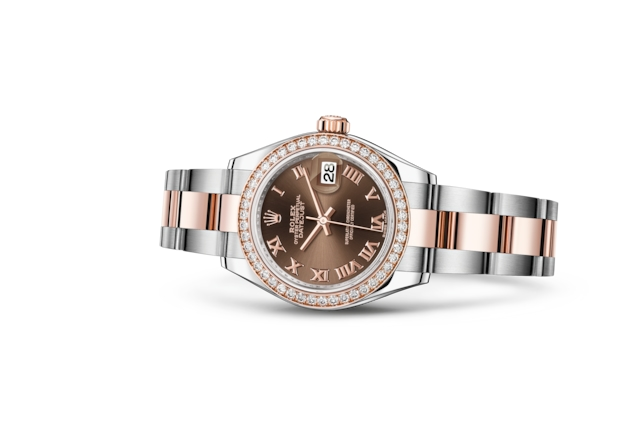 Lady-Datejust 28 - Chocolate, Acero Oystersteel, oro Everose y diamantes