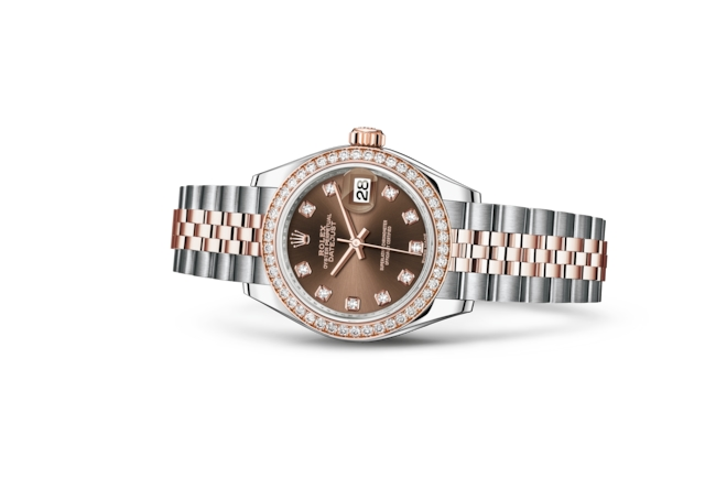 Lady-Datejust 28 - Chocolat, serti de diamants, Acier Oystersteel, or Everose et diamants