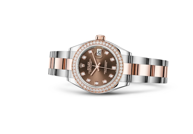 Lady-Datejust 28 - Chocolate engastada de diamantes, Acero Oystersteel, oro Everose y diamantes
