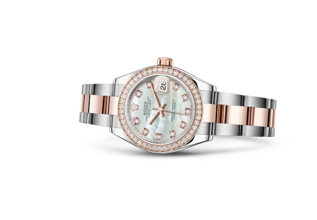 Lady-Datejust 28 - Wit parelmoer bezet met diamanten, Oystersteel-staal, Everose-goud en diamanten