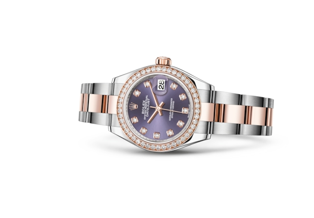 Lady-Datejust 28 - Цвета баклажана (Aubergine), бриллианты, сталь Oystersteel, золото Everose и бриллианты