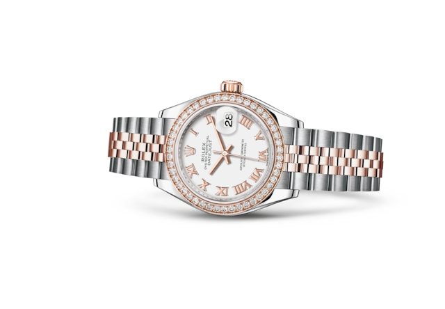 Lady-Datejust 28 - White, Oystersteel, Everose gold and diamonds