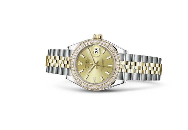 Lady-Datejust 28 - Couleur champagne, Acier Oystersteel, or jaune et diamants