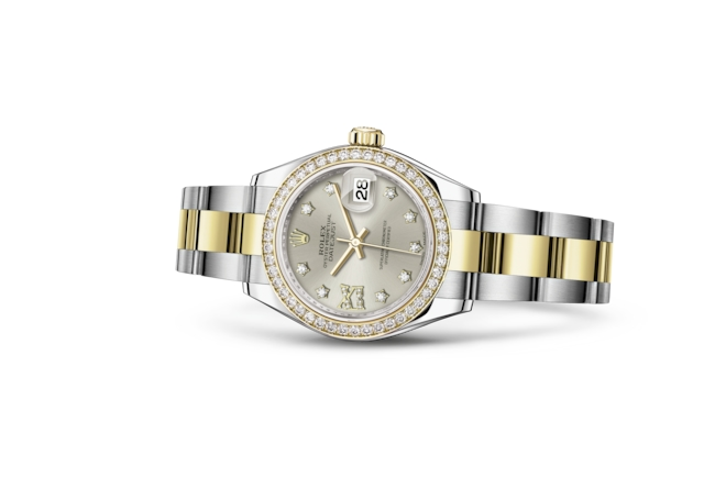 Lady-Datejust 28 - Argentato con diamanti, Acciaio Oystersteel, oro giallo e diamanti