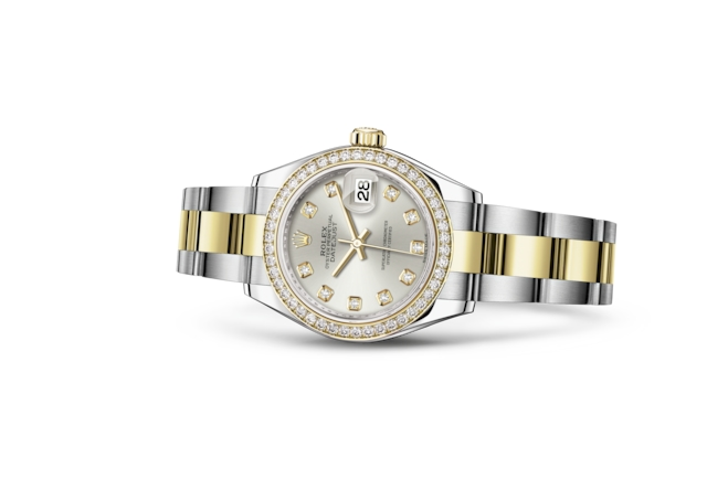 Lady-Datejust 28 - Argenté, serti de diamants, acier, or jaune et diamants