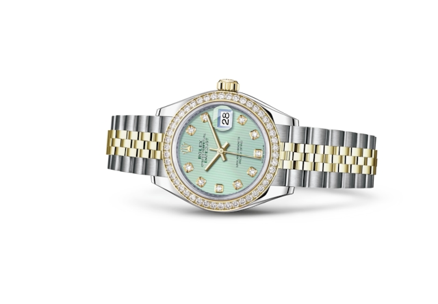 Lady-Datejust 28 - Verde menta con diamanti, Acciaio Oystersteel, oro giallo e diamanti