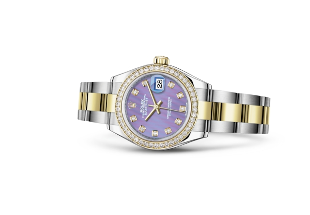 Lady-Datejust 28 - Lavender set with diamonds, Oystersteel, yellow gold and diamonds