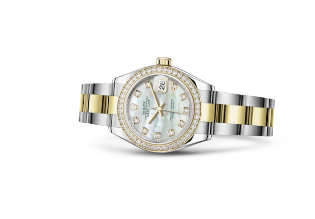 Lady-Datejust 28 - Nacre blanche, serti de diamants, acier, or jaune et diamants