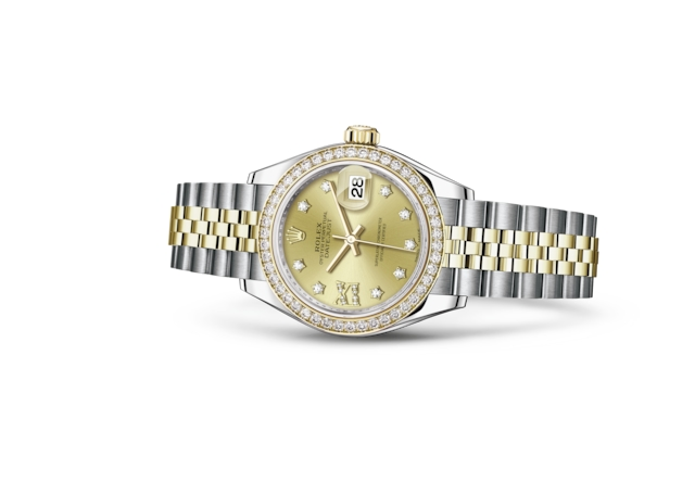 Lady-Datejust 28 - Champagne-colour set with diamonds, Oystersteel, yellow gold and diamonds