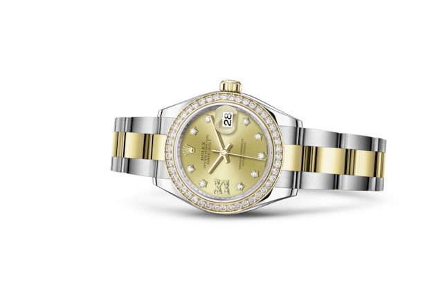 Lady-Datejust 28 - Color champagne engastada de diamantes, Acero Oystersteel, oro amarillo y diamantes