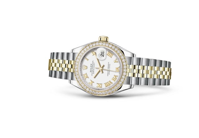 Lady-Datejust 28 - Blanc, Acier Oystersteel, or jaune et diamants