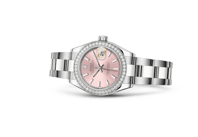 Lady-Datejust 28 - Pink, Oystersteel, white gold and diamonds