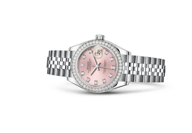 Lady-Datejust 28 - Roze met diamanten, Oystersteel-staal, witgoud en diamanten