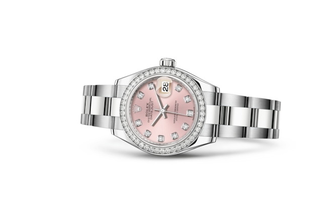 Lady-Datejust 28 - Rose, serti de diamants, Acier Oystersteel, or gris et diamants