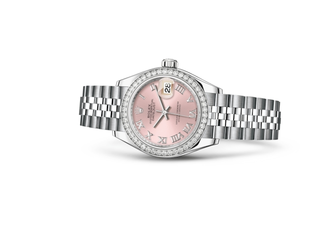 Lady-Datejust 28 - Rose, acier, or gris et diamants