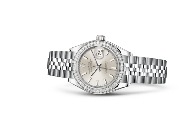 Lady-Datejust 28 - Silver, steel, white gold and diamonds