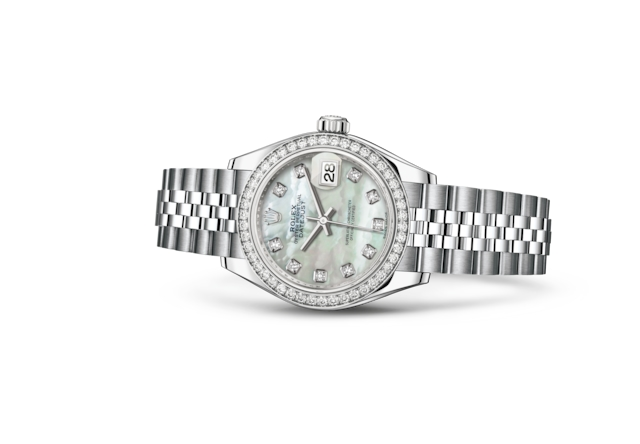 Lady-Datejust 28 - Wit parelmoer bezet met diamanten, Oystersteel-staal, witgoud en diamanten