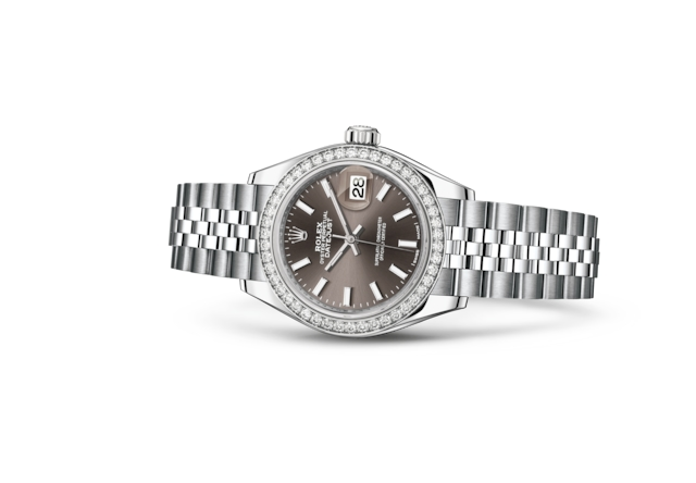 Lady-Datejust 28 - Dark grey, Oystersteel-staal, witgoud en diamanten