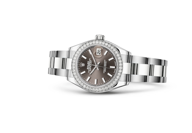 Lady-Datejust 28 - Dark grey, Oystersteel, white gold and diamonds