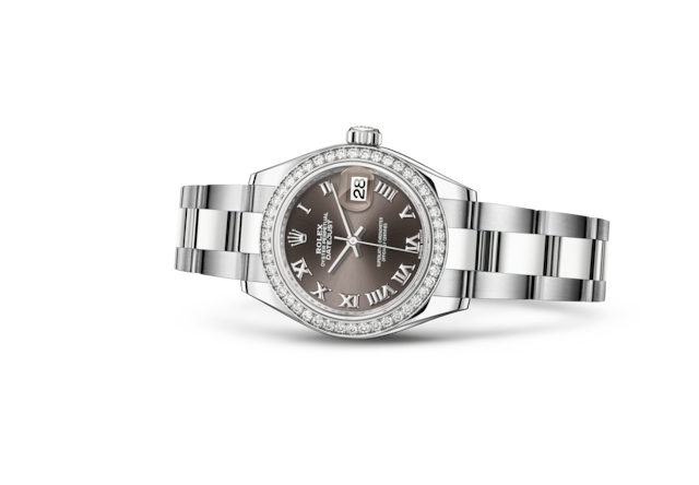 Lady-Datejust 28 - Dark grey, steel, white gold and diamonds