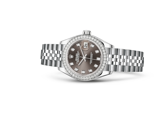 Lady-Datejust 28 - Dark grey con diamanti, Acciaio Oystersteel, oro bianco e diamanti