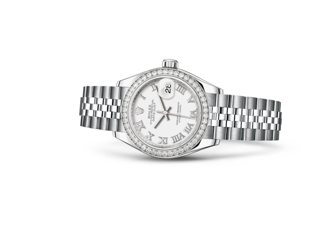 Lady-Datejust 28 - Blanc, acier, or gris et diamants
